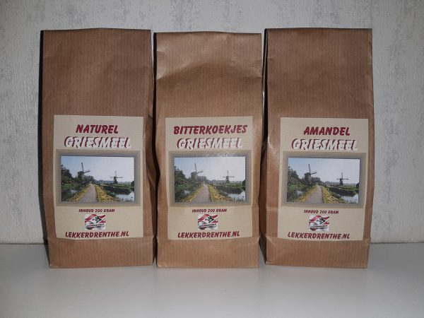 Griesmeel in de smaken naturel, bitterkoekjes en amandel