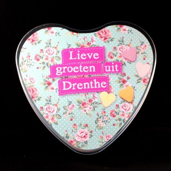 Lieve groeten uit Drenthe in hartvormig blik